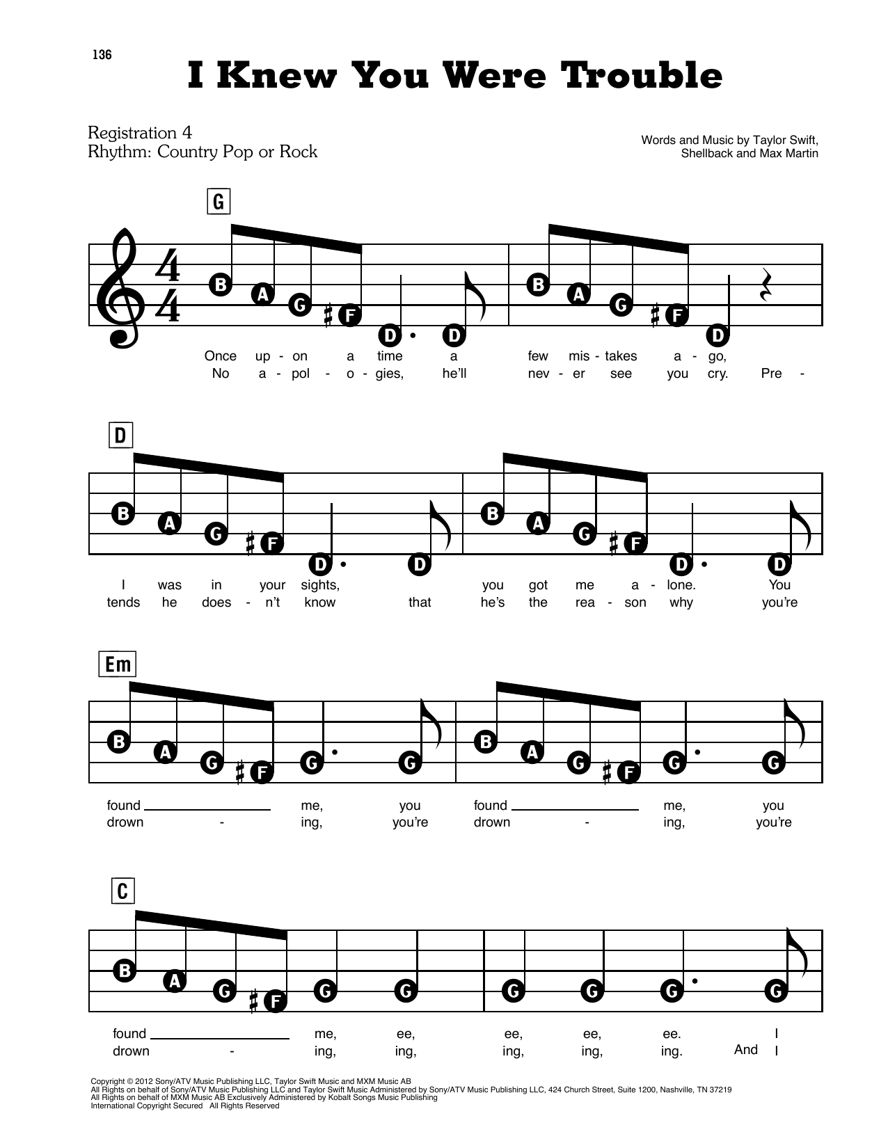 Taylor Swift I Knew You Were Trouble sheet music preview music notes and score for E-Z Play Today including 5 page(s)
