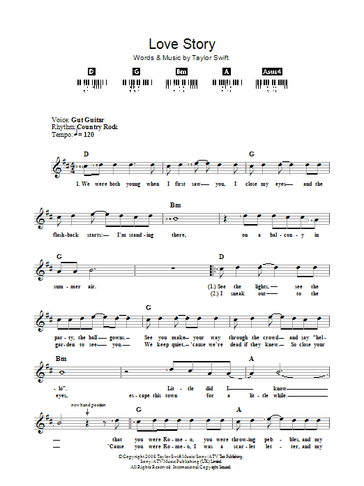 Taylor Swift Love Story sheet music preview music notes and score for Ukulele including 8 page(s)