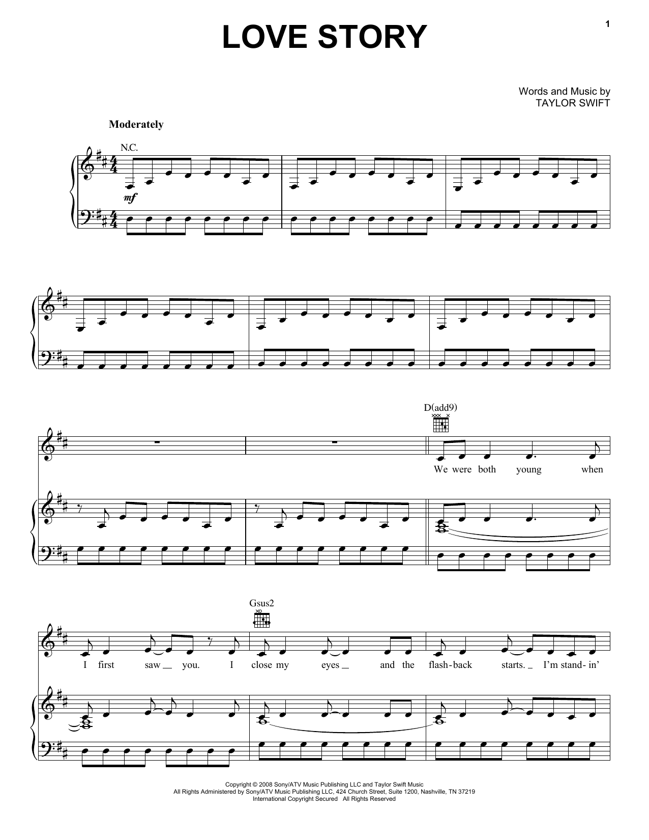 Taylor Swift Love Story sheet music preview music notes and score for E-Z Play Today including 6 page(s)