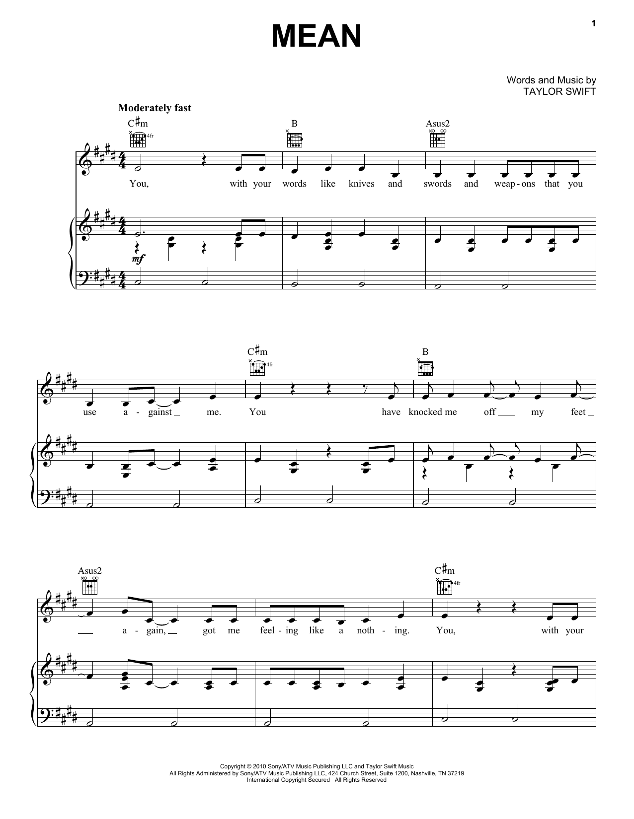 Taylor Swift Mean sheet music notes and chords