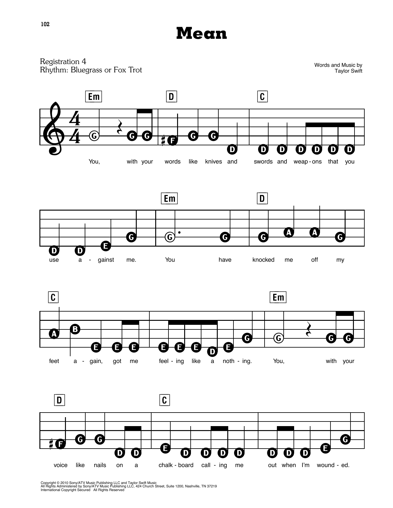 Taylor Swift Mean sheet music preview music notes and score for E-Z Play Today including 8 page(s)