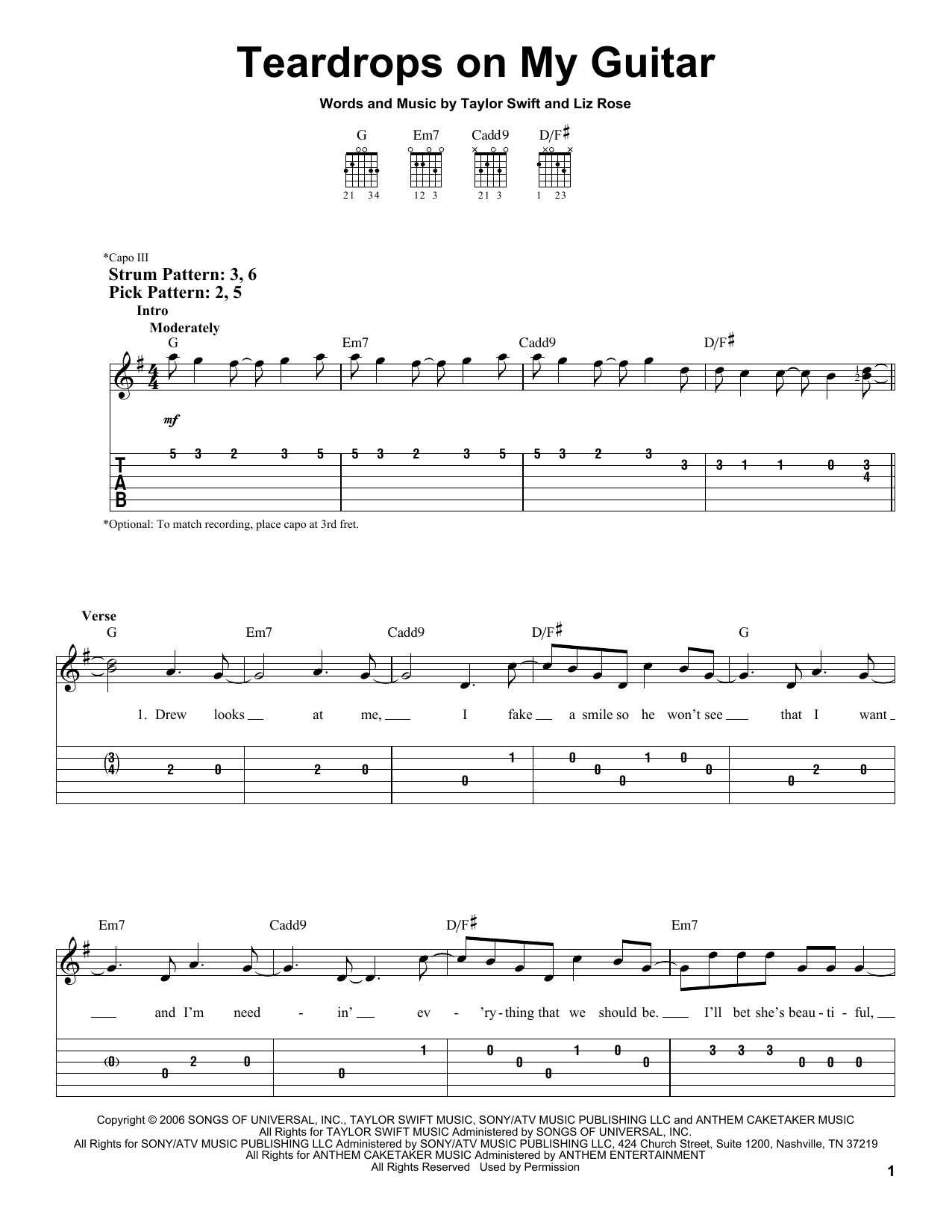 Taylor Swift Teardrops On My Guitar sheet music preview music notes and score for Ukulele including 3 page(s)