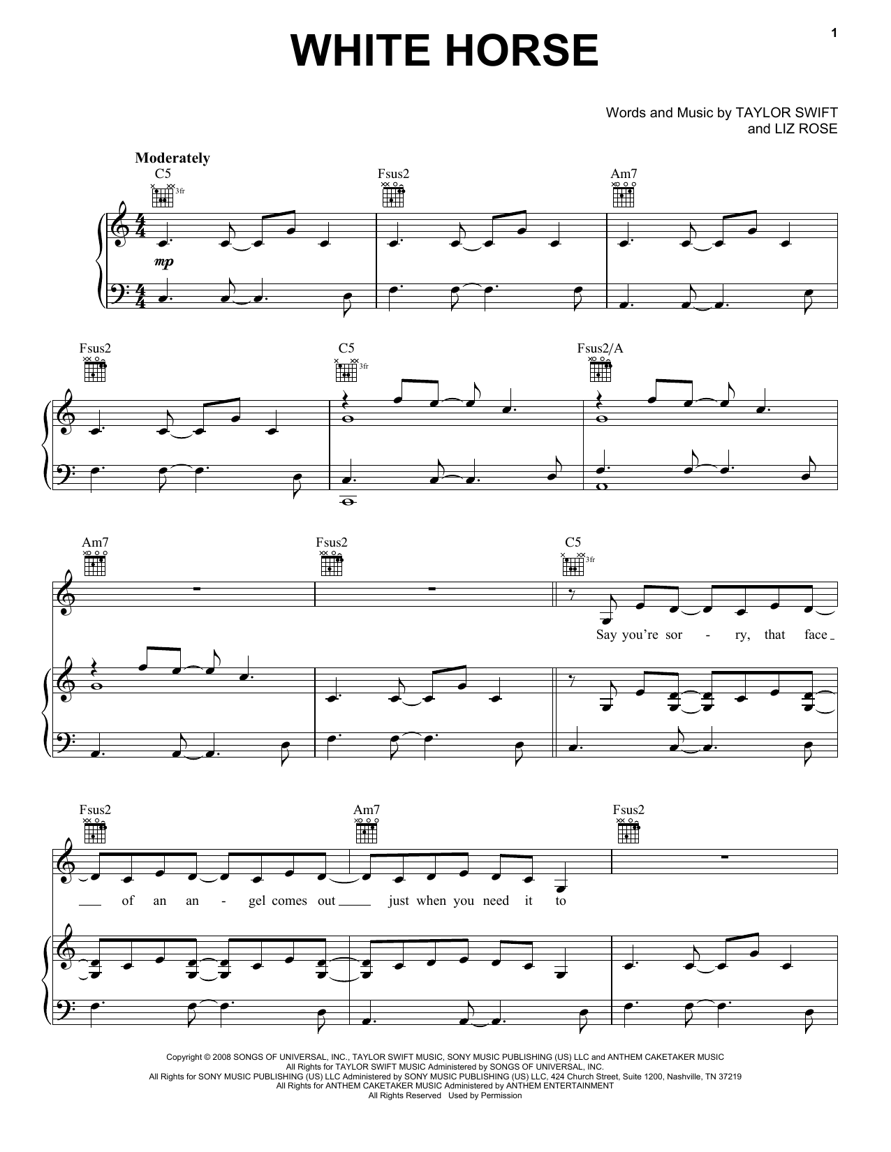 Taylor Swift White Horse sheet music preview music notes and score for Easy Guitar Tab including 5 page(s)