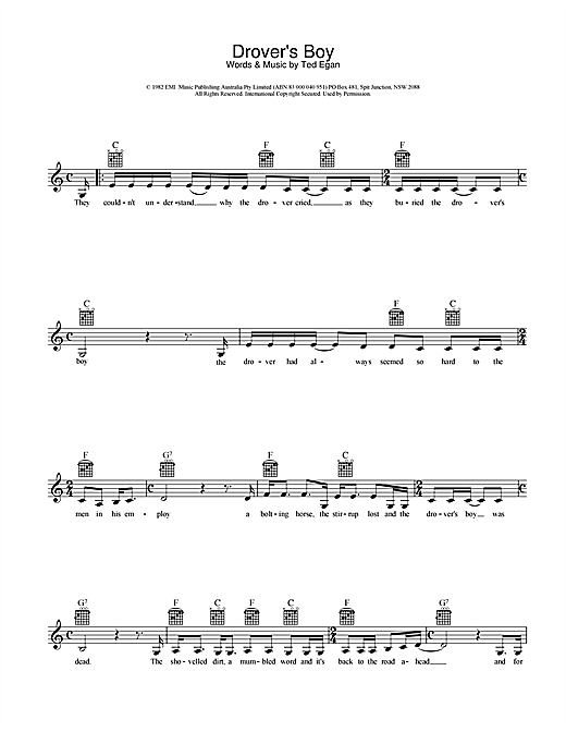 Ted Egan Drover's Boy sheet music preview music notes and score for Melody Line, Lyrics & Chords including 2 page(s)