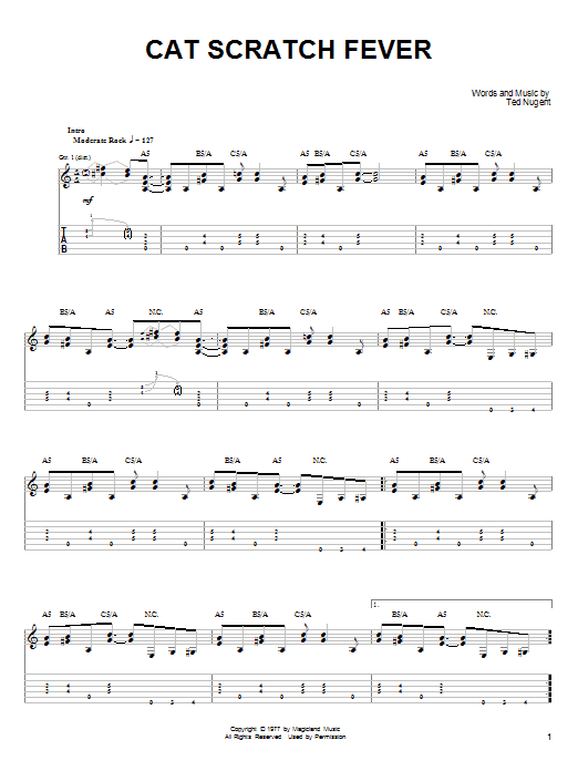 Ted Nugent Cat Scratch Fever sheet music preview music notes and score for Lyrics & Chords including 4 page(s)