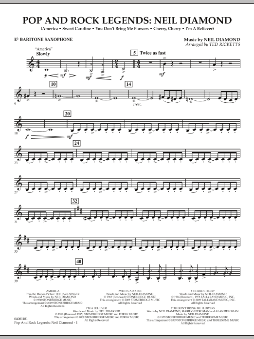 Download Ted Ricketts 'Pop and Rock Legends - Neil Diamond - Eb Baritone Saxophone' Digital Sheet Music Notes & Chords and start playing in minutes