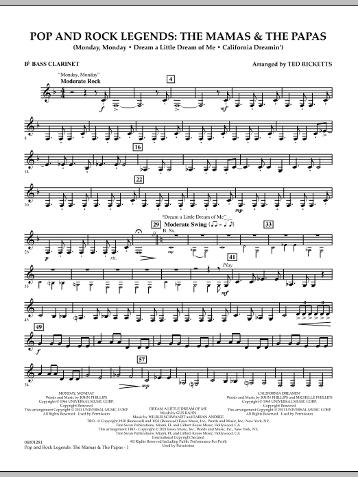 Download Ted Ricketts 'Pop And Rock Legends: The Mamas & The Papas - Bb Bass Clarinet' Digital Sheet Music Notes & Chords and start playing in minutes