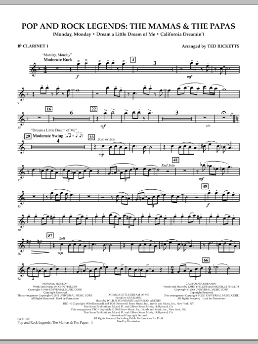 Download Ted Ricketts 'Pop And Rock Legends: The Mamas & The Papas - Bb Clarinet 1' Digital Sheet Music Notes & Chords and start playing in minutes