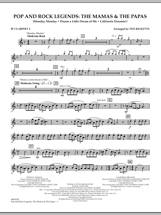 Download Ted Ricketts 'Pop And Rock Legends: The Mamas & The Papas - Bb Clarinet 2' Digital Sheet Music Notes & Chords and start playing in minutes