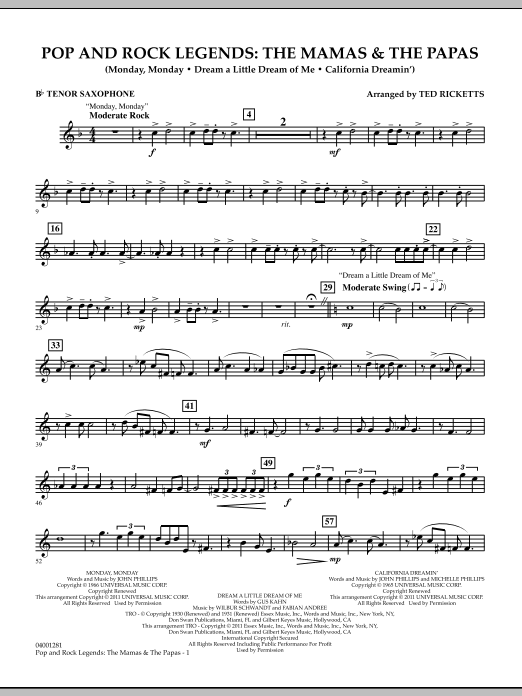 Download Ted Ricketts 'Pop And Rock Legends: The Mamas & The Papas - Bb Tenor Saxophone' Digital Sheet Music Notes & Chords and start playing in minutes