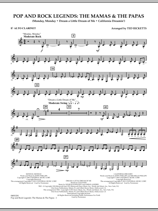Download Ted Ricketts 'Pop And Rock Legends: The Mamas & The Papas - Eb Alto Clarinet' Digital Sheet Music Notes & Chords and start playing in minutes