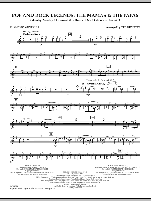 Download Ted Ricketts 'Pop And Rock Legends: The Mamas & The Papas - Eb Alto Saxophone 1' Digital Sheet Music Notes & Chords and start playing in minutes