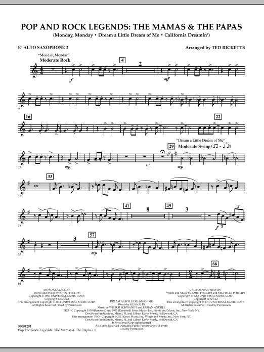 Download Ted Ricketts 'Pop And Rock Legends: The Mamas & The Papas - Eb Alto Saxophone 2' Digital Sheet Music Notes & Chords and start playing in minutes