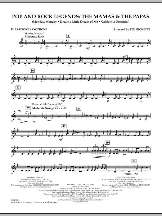 Download Ted Ricketts 'Pop And Rock Legends: The Mamas & The Papas - Eb Baritone Saxophone' Digital Sheet Music Notes & Chords and start playing in minutes