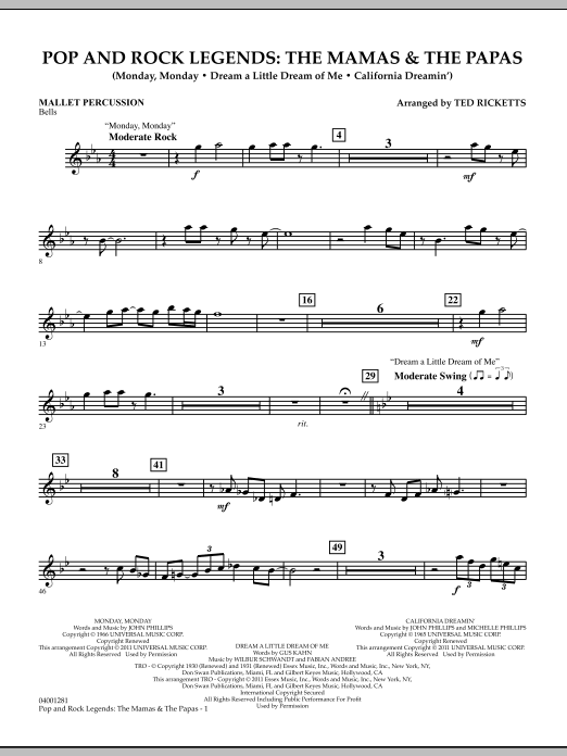Download Ted Ricketts 'Pop And Rock Legends: The Mamas & The Papas - Mallet Percussion' Digital Sheet Music Notes & Chords and start playing in minutes
