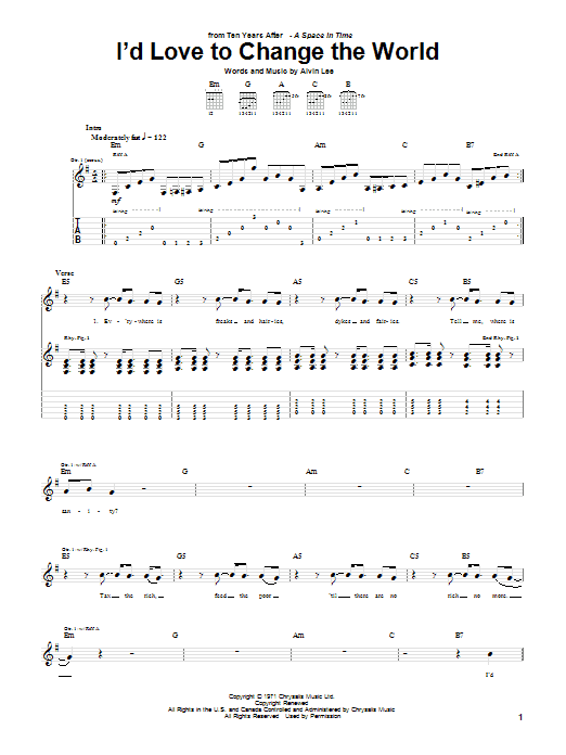 Ten Years After I'd Love To Change The World sheet music preview music notes and score for Guitar Tab including 4 page(s)