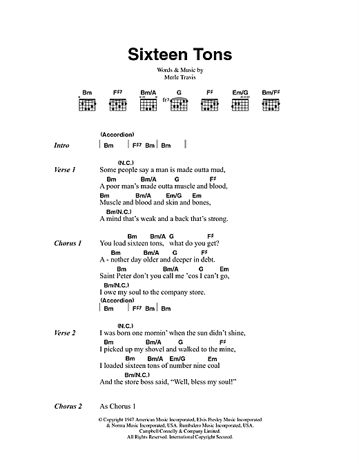 Tennessee Ernie Ford Sixteen Tons sheet music preview music notes and score for Lyrics & Chords including 2 page(s)