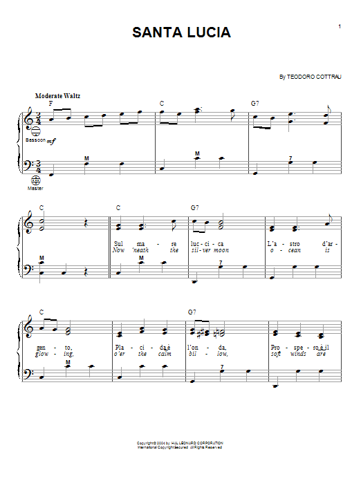 Teodoro Cottrau Santa Lucia sheet music notes and chords