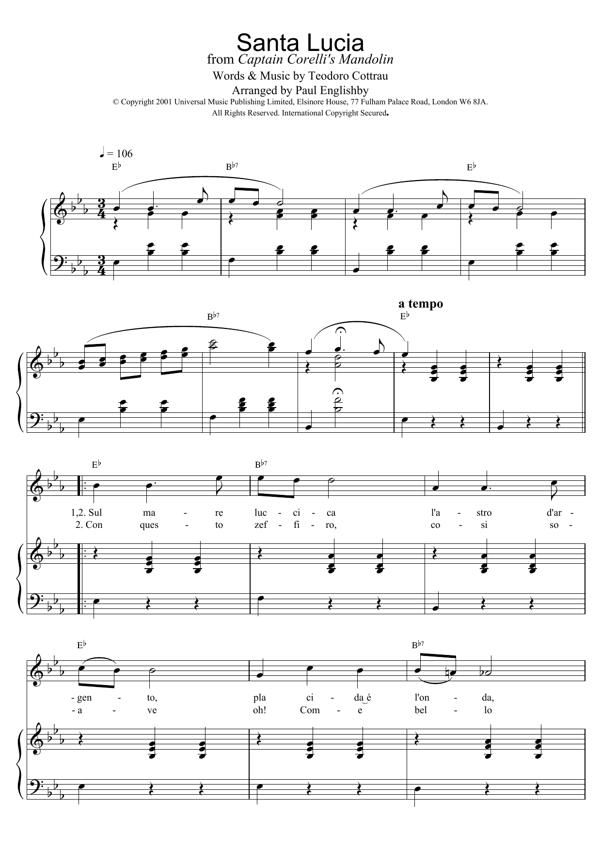 Teodoro Cottrau Santa Lucia sheet music preview music notes and score for Guitar Tab including 2 page(s)