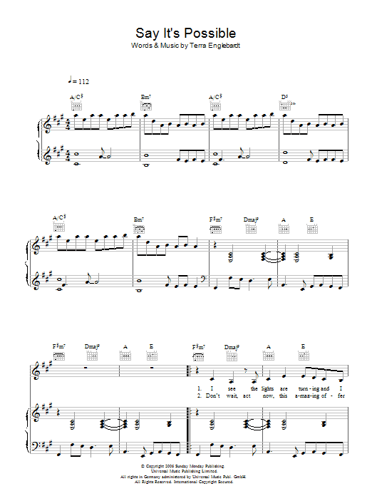 Terra Naomi Say It's Possible sheet music preview music notes and score for Piano, Vocal & Guitar including 6 page(s)