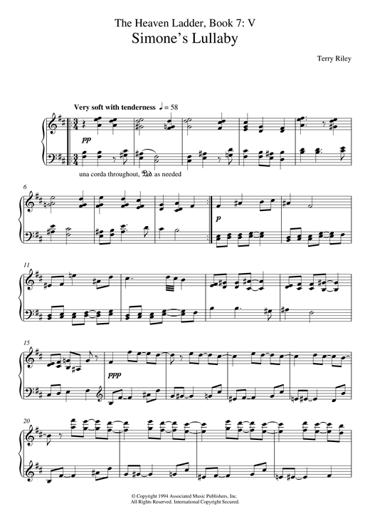 Download Terry Riley 'Simone's Lullaby (No.5 From The Heaven Ladder Book 7)' Digital Sheet Music Notes & Chords and start playing in minutes