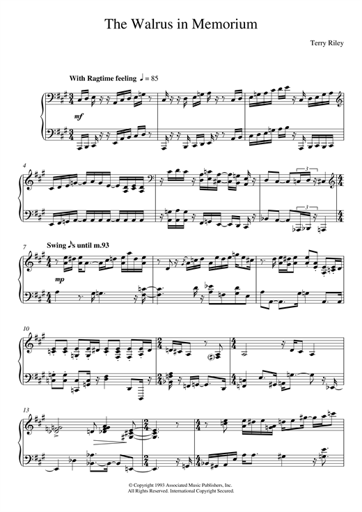 Download Terry Riley 'The Walrus In Memoriam' Digital Sheet Music Notes & Chords and start playing in minutes