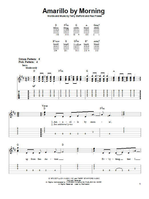 Terry Stafford Amarillo By Morning sheet music preview music notes and score for Piano, Vocal & Guitar (Right-Hand Melody) including 4 page(s)