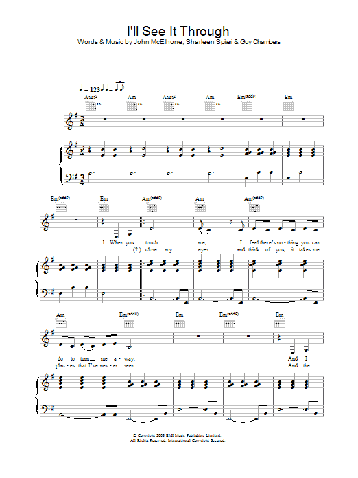 Texas I'll See It Through sheet music preview music notes and score for Piano, Vocal & Guitar including 6 page(s)
