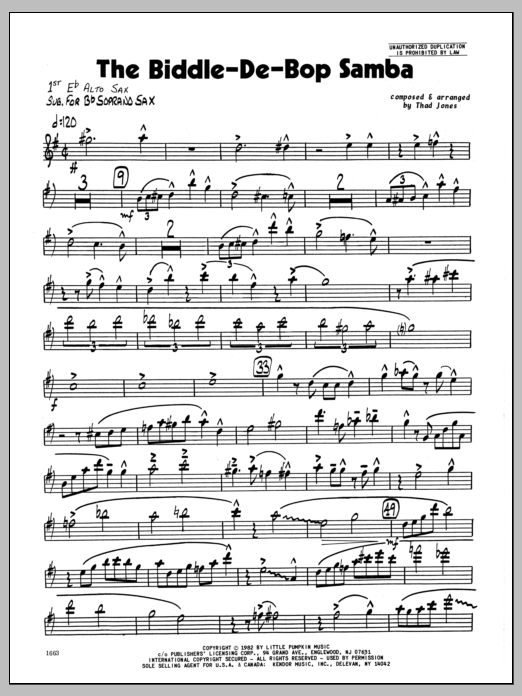 Thad Jones Biddle-De-Bop Samba, The - 1st Eb Alto Saxophone sheet music preview music notes and score for Jazz Ensemble including 4 page(s)