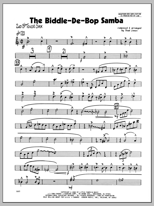 Thad Jones Biddle-De-Bop Samba, The - 2nd Bb Tenor Saxophone sheet music preview music notes and score for Jazz Ensemble including 2 page(s)