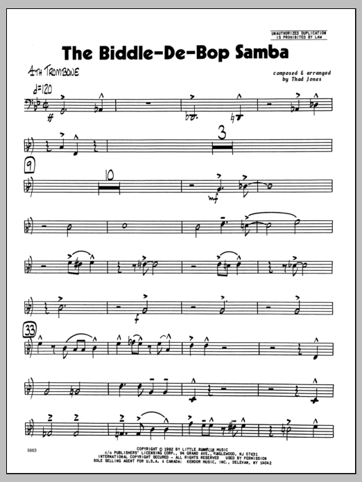 Thad Jones Biddle-De-Bop Samba, The - 4th Trombone sheet music preview music notes and score for Jazz Ensemble including 4 page(s)