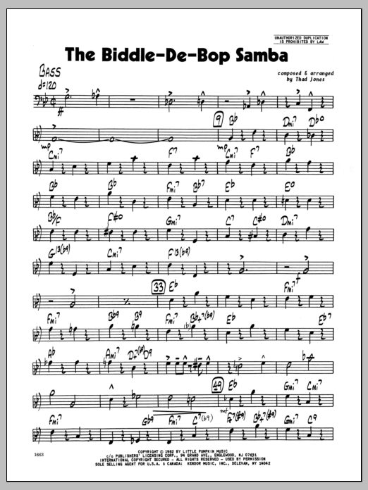 Thad Jones Biddle-De-Bop Samba, The - Bass sheet music preview music notes and score for Jazz Ensemble including 4 page(s)