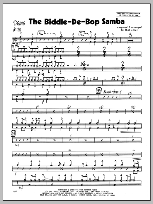 Thad Jones Biddle-De-Bop Samba, The - Drums sheet music preview music notes and score for Jazz Ensemble including 3 page(s)