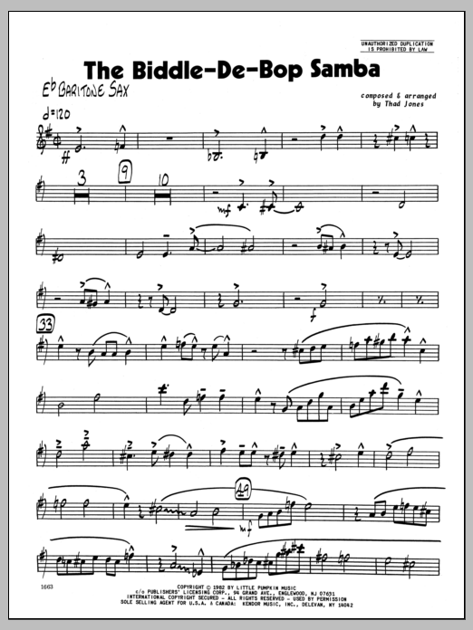 Thad Jones Biddle-De-Bop Samba, The - Eb Baritone Sax sheet music preview music notes and score for Jazz Ensemble including 4 page(s)