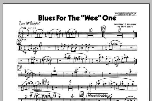 Thad Jones Blues For The 'Wee' One - 2nd Bb Trumpet sheet music preview music notes and score for Jazz Ensemble including 1 page(s)
