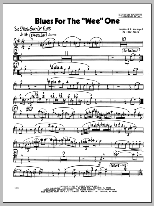 Thad Jones Blues For The 'Wee' One - 2nd Eb Alto Saxophone sheet music preview music notes and score for Jazz Ensemble including 2 page(s)