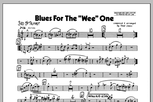 Thad Jones Blues For The 'Wee' One - 3rd Bb Trumpet sheet music preview music notes and score for Jazz Ensemble including 1 page(s)