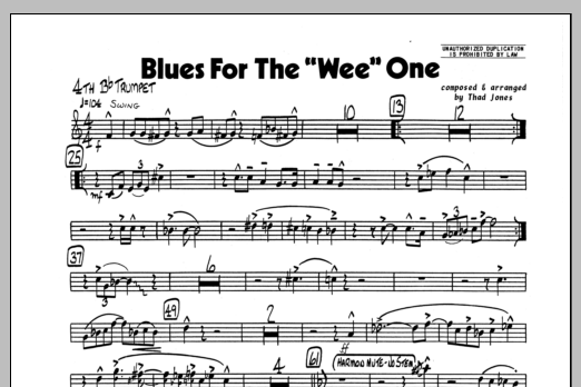Thad Jones Blues For The 'Wee' One - 4th Bb Trumpet sheet music preview music notes and score for Jazz Ensemble including 1 page(s)