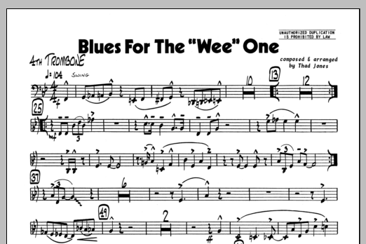 Thad Jones Blues For The 'Wee' One - 4th Trombone sheet music preview music notes and score for Jazz Ensemble including 1 page(s)