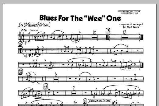 Thad Jones Blues For The 'Wee' One - Bb Trumpet 5 sheet music preview music notes and score for Jazz Ensemble including 1 page(s)