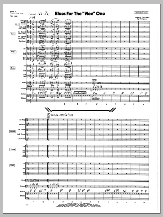 Thad Jones Blues For The 'Wee' One - Full Score sheet music preview music notes and score for Jazz Ensemble including 6 page(s)