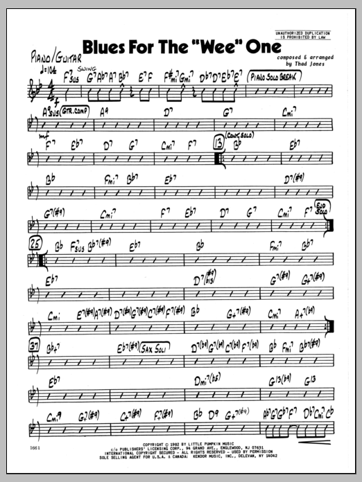 Thad Jones Blues For The 'Wee' One - Piano sheet music preview music notes and score for Jazz Ensemble including 2 page(s)