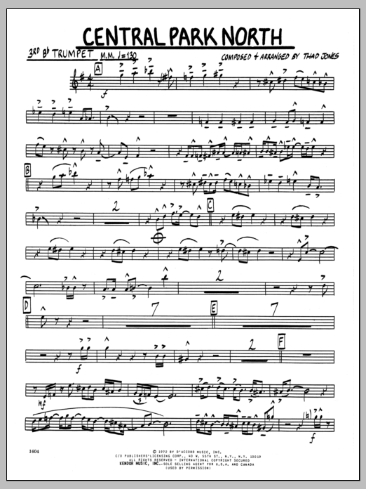 Thad Jones Central Park North - 3rd Bb Trumpet sheet music preview music notes and score for Jazz Ensemble including 2 page(s)