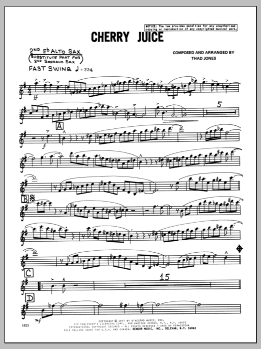 Thad Jones Cherry Juice - 2nd Eb Alto Saxophone sheet music preview music notes and score for Jazz Ensemble including 4 page(s)