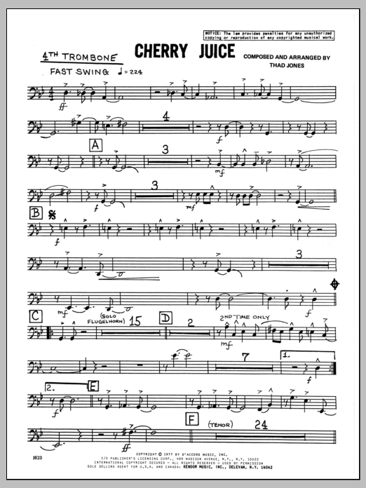 Thad Jones Cherry Juice - 4th Trombone sheet music preview music notes and score for Jazz Ensemble including 3 page(s)