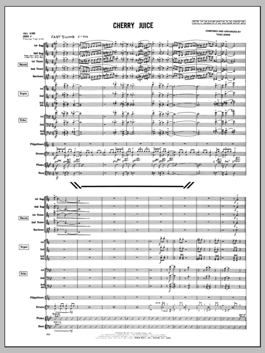 Thad Jones Cherry Juice - Full Score sheet music preview music notes and score for Jazz Ensemble including 14 page(s)