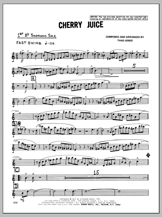 Thad Jones Cherry Juice - Soprano Sax (1st Part) sheet music preview music notes and score for Jazz Ensemble including 4 page(s)