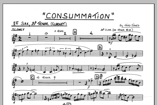 Thad Jones Consummation - 1st Bb Tenor Saxophone sheet music preview music notes and score for Jazz Ensemble including 1 page(s)