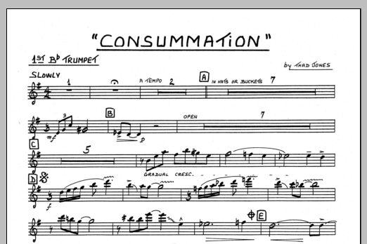 Thad Jones Consummation - 1st Bb Trumpet sheet music preview music notes and score for Jazz Ensemble including 1 page(s)