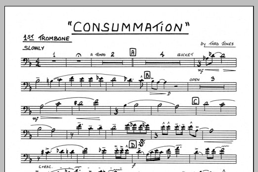 Thad Jones Consummation - 1st Trombone sheet music preview music notes and score for Jazz Ensemble including 1 page(s)